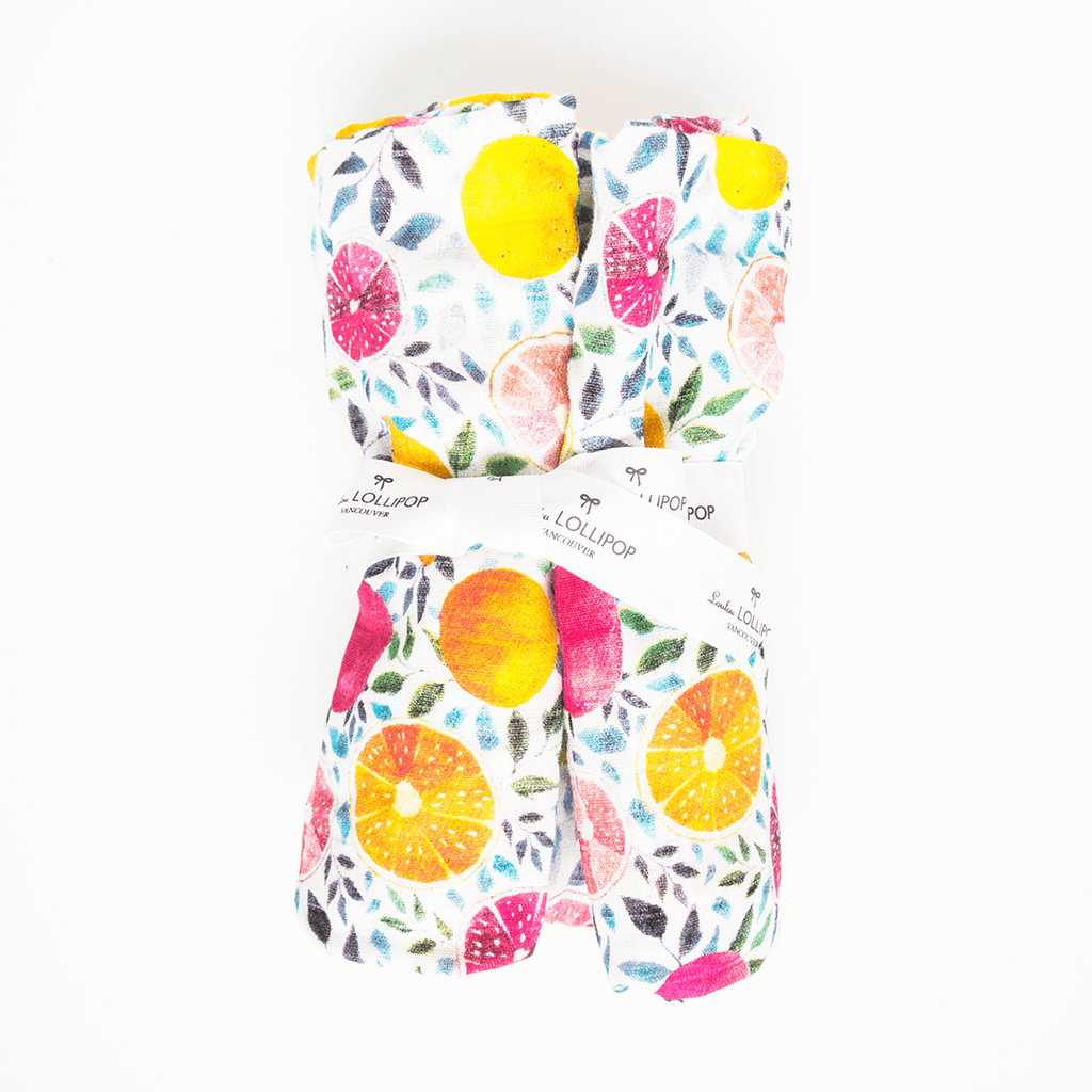 Summer Citrus Bamboo Swaddle Blanket