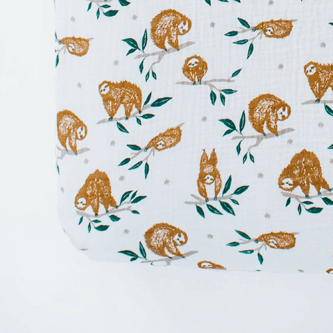 Tropical Leaf Cotton Muslin Crib Sheet - Mini Size