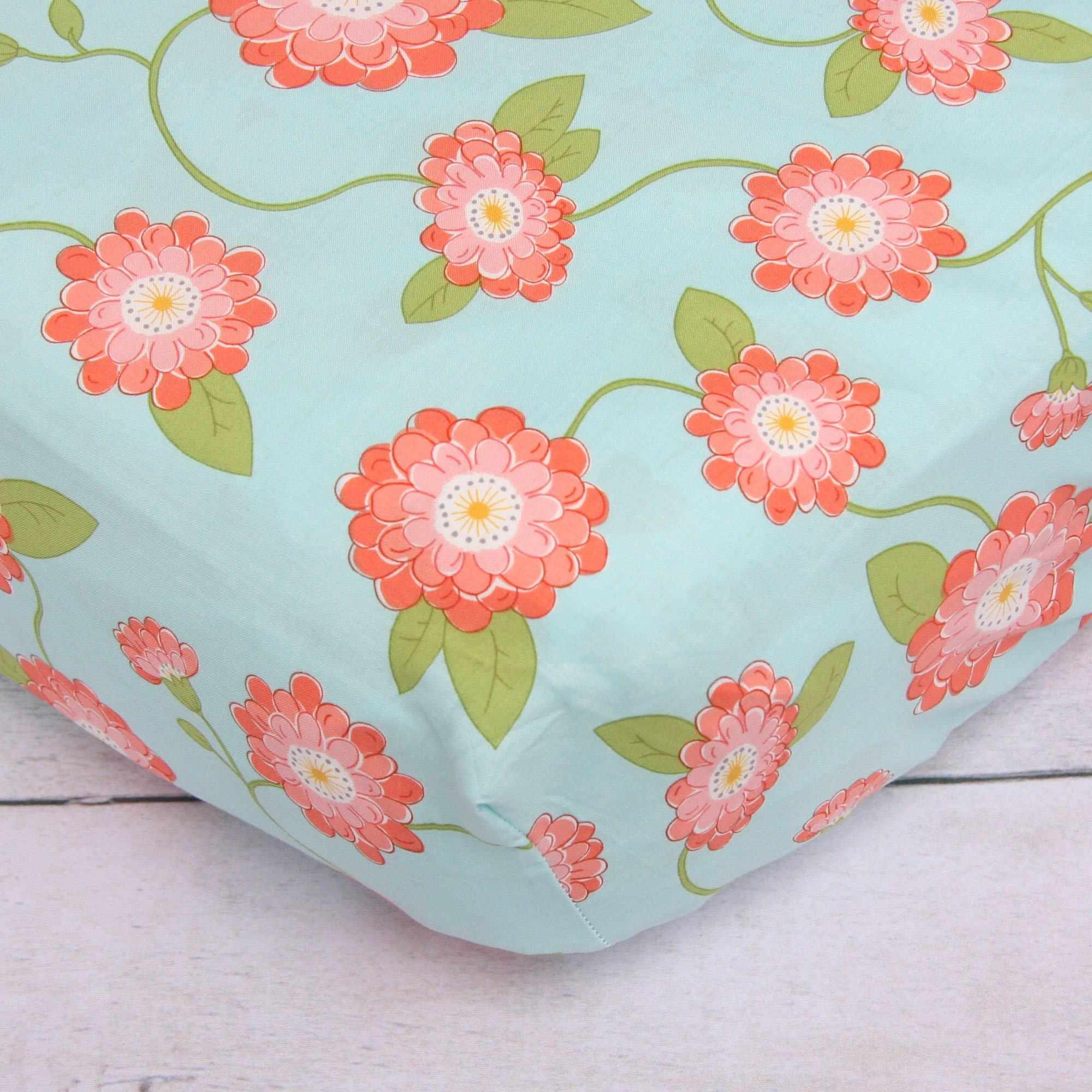 Coral Floral Crib Sheet - Default