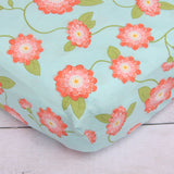 Coral Floral Crib Sheet  - The Project Nursery Shop