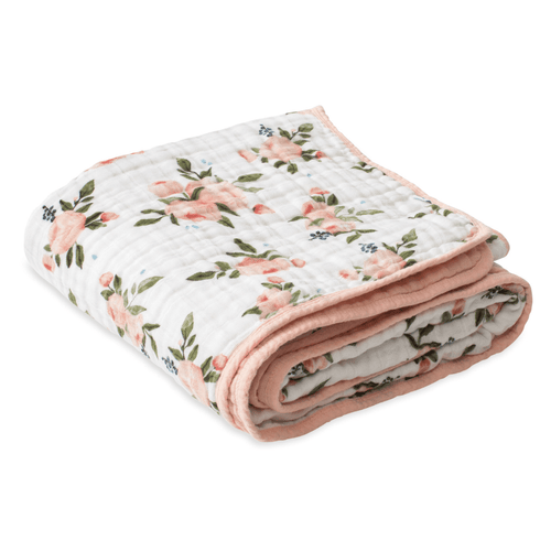 Cotton Muslin Quilt - Watercolor Roses - Project Nursery