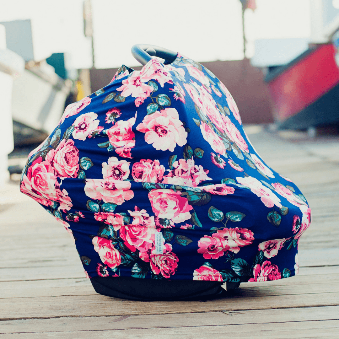 Four-in-one Nursing + Car Seat Cover - Navy Floral