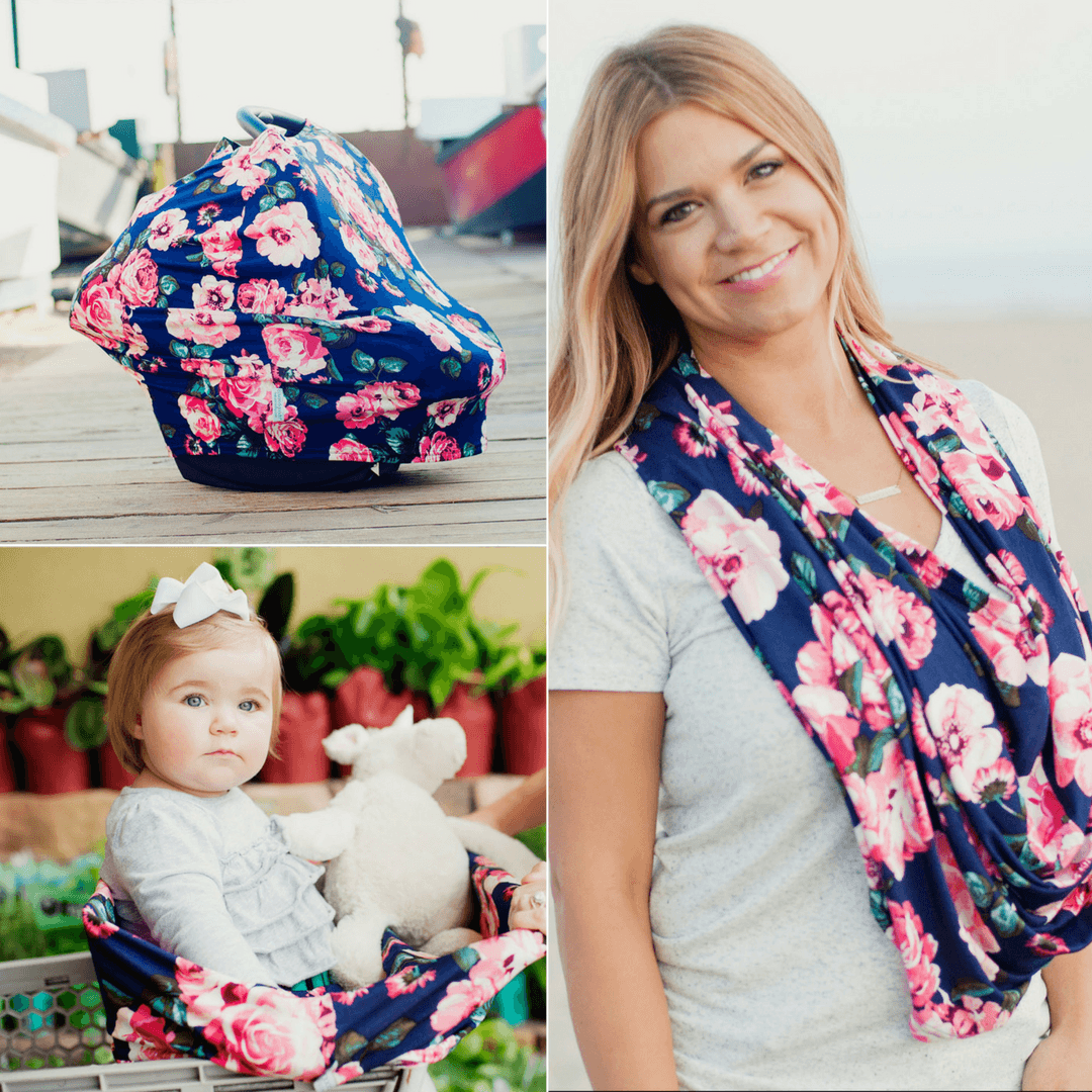 Four-in-One Nursing + Car Seat Cover - Navy Floral - Project Nursery