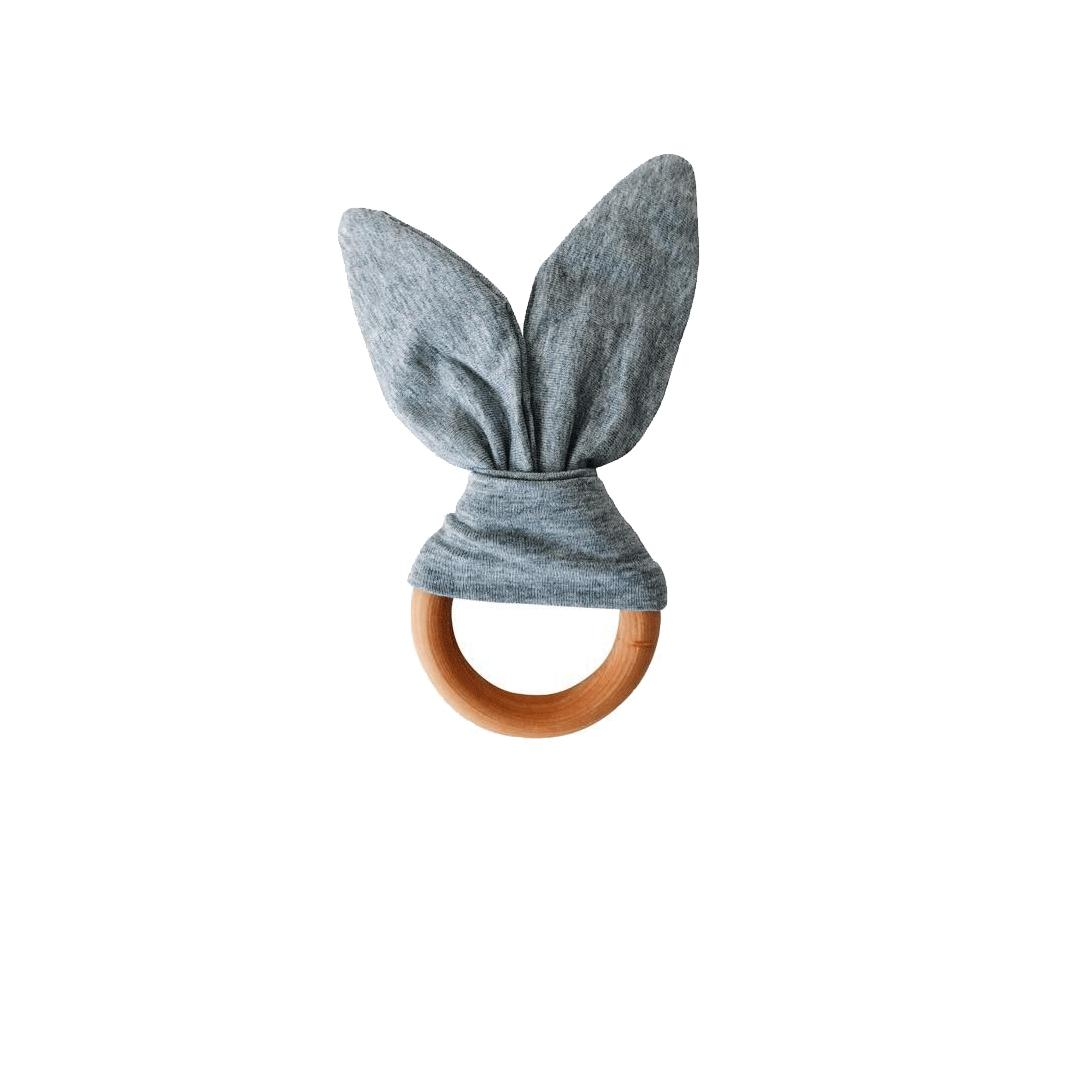 Crinkle Bunny Ears Teether - Grey - Project Nursery
