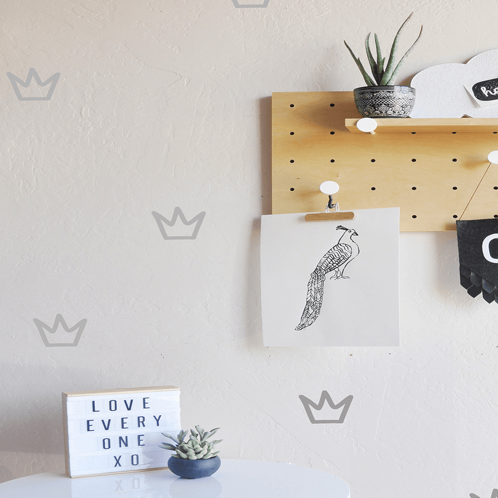 Outlined Crowns Wall Decal Metallic Silver - The Project Nursery Shop - 7