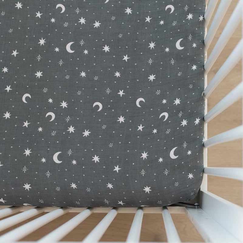 Night Sky Muslin Crib Sheet - Project Nursery