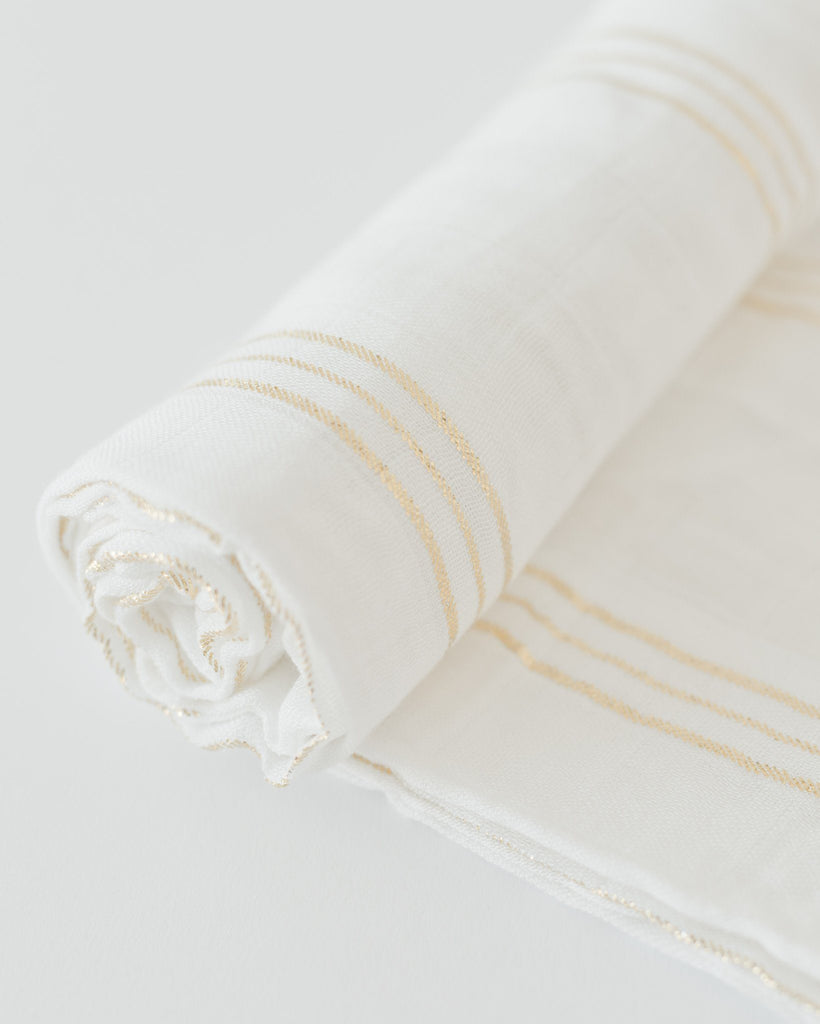 Deluxe Muslin Swaddle in Gold Stripe  - The Project Nursery Shop - 2
