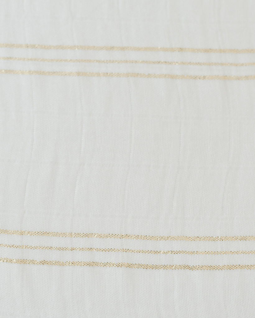 Deluxe Muslin Swaddle in Gold Stripe  - The Project Nursery Shop - 4
