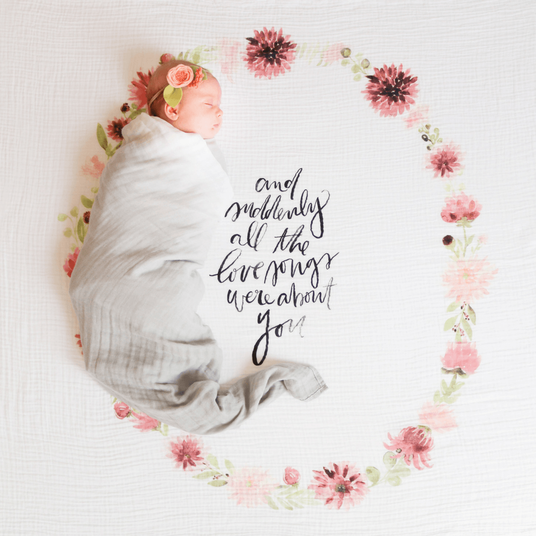 Dahlia Blooms Organic Swaddle Blanket - Project Nursery