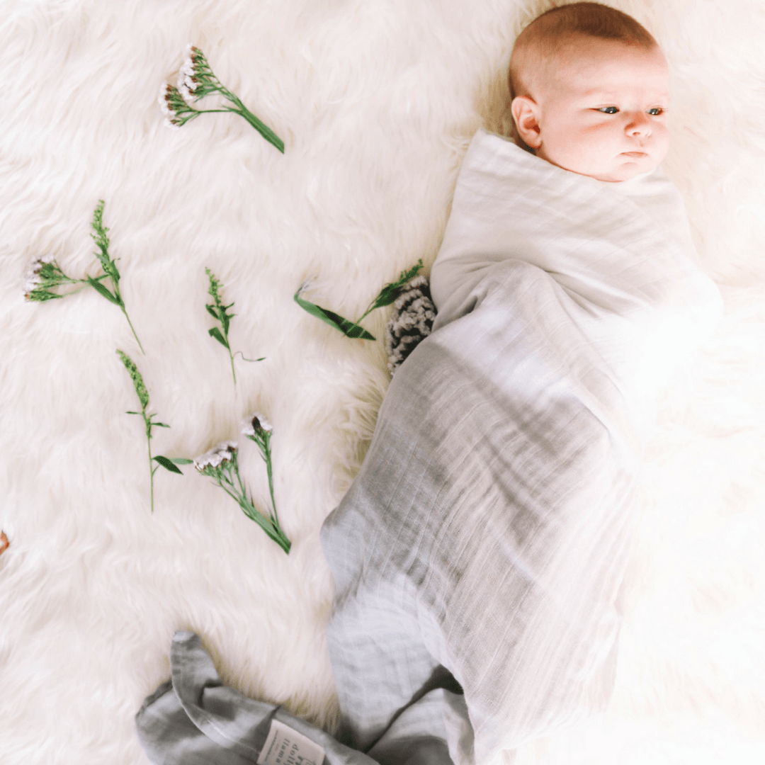 Dip-Dyed Organic Swaddle Blanket - Grey Stone - Project Nursery