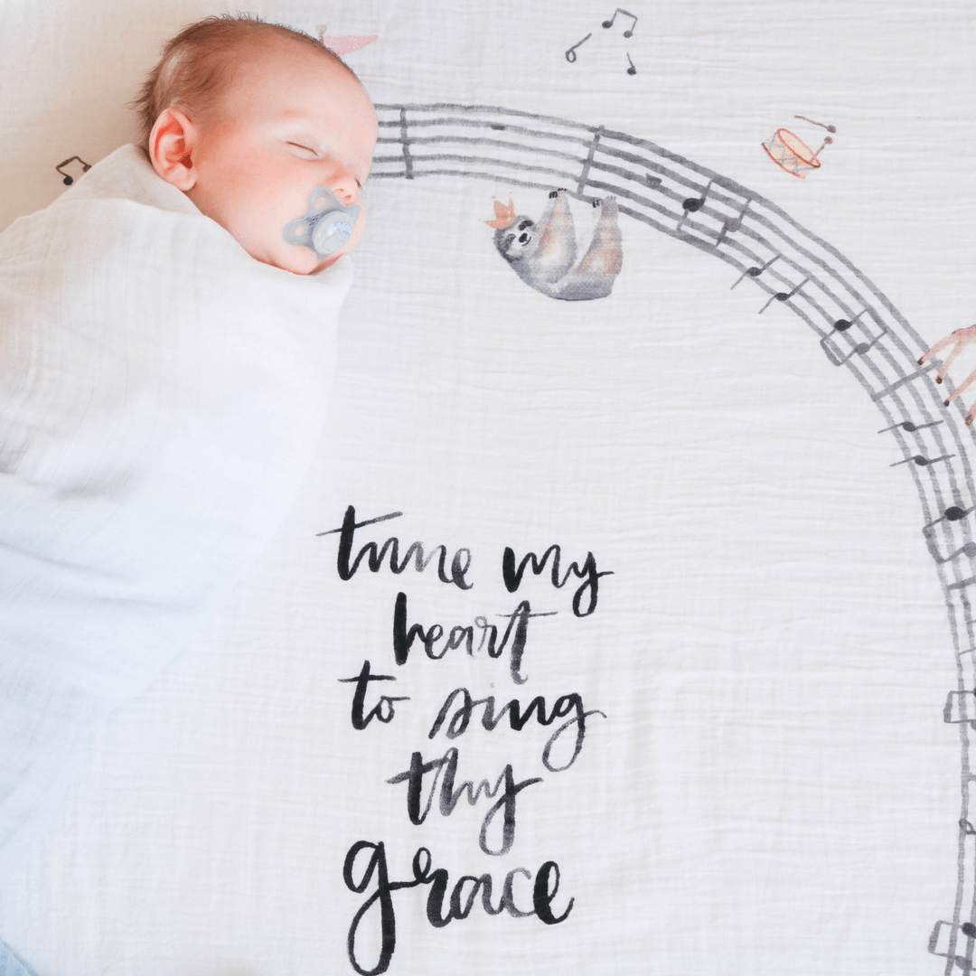 Music Parade - Organic Swaddle Blanket - Project Nursery