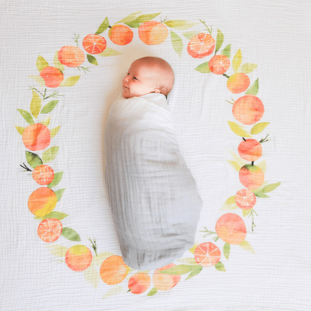 Orange Blossoms Organic Swaddle Blanket - Project Nursery