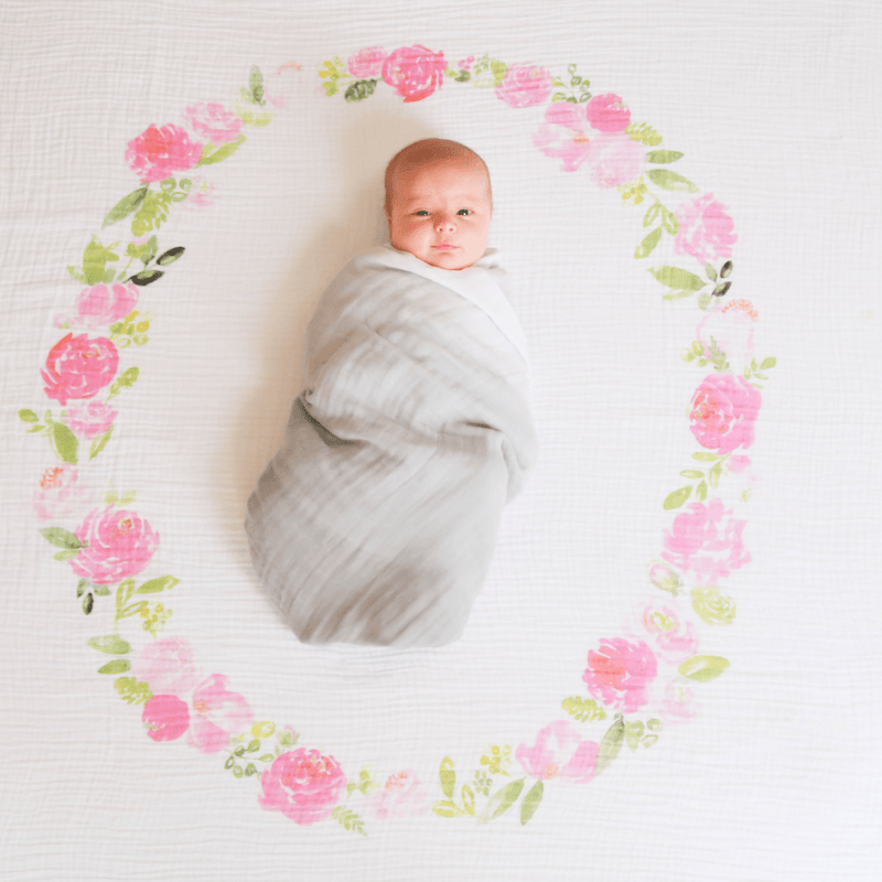 Peony Blooms Organic Swaddle Blanket - Project Nursery