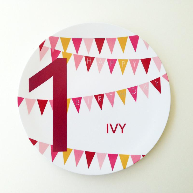 Personalized Happy Birthday Plate Maroon - The Project Nursery Shop - 2