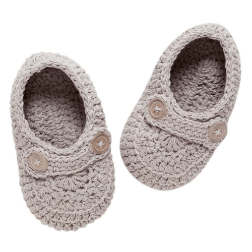 Grey Crochet Baby Shoes - Project Nursery