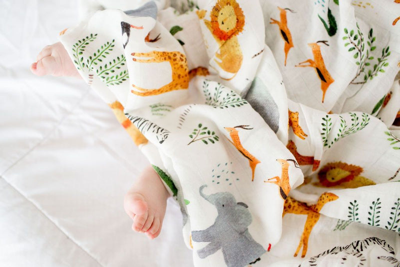 Safari Jungle Muslin Swaddle Blanket - Project Nursery