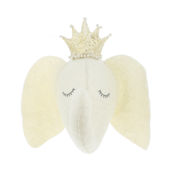 Cream Sleepy Elephant Head Wall Hanging - Project Nursery