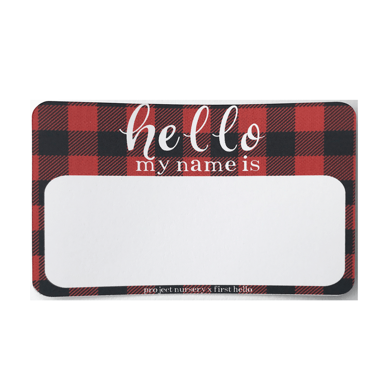 Buffalo Check Birth Announcement Stickers - PN x First Hello Exclusive - Project Nursery