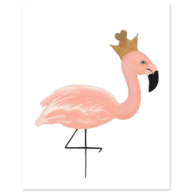 Image uvqouctrtswkp purchasing Amber Michelle Fine Art Baby/Infant Wall Decor Crowned Flamingo Print