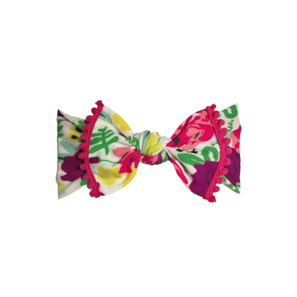 White Pop Floral Trimmed Printed Knot Headband