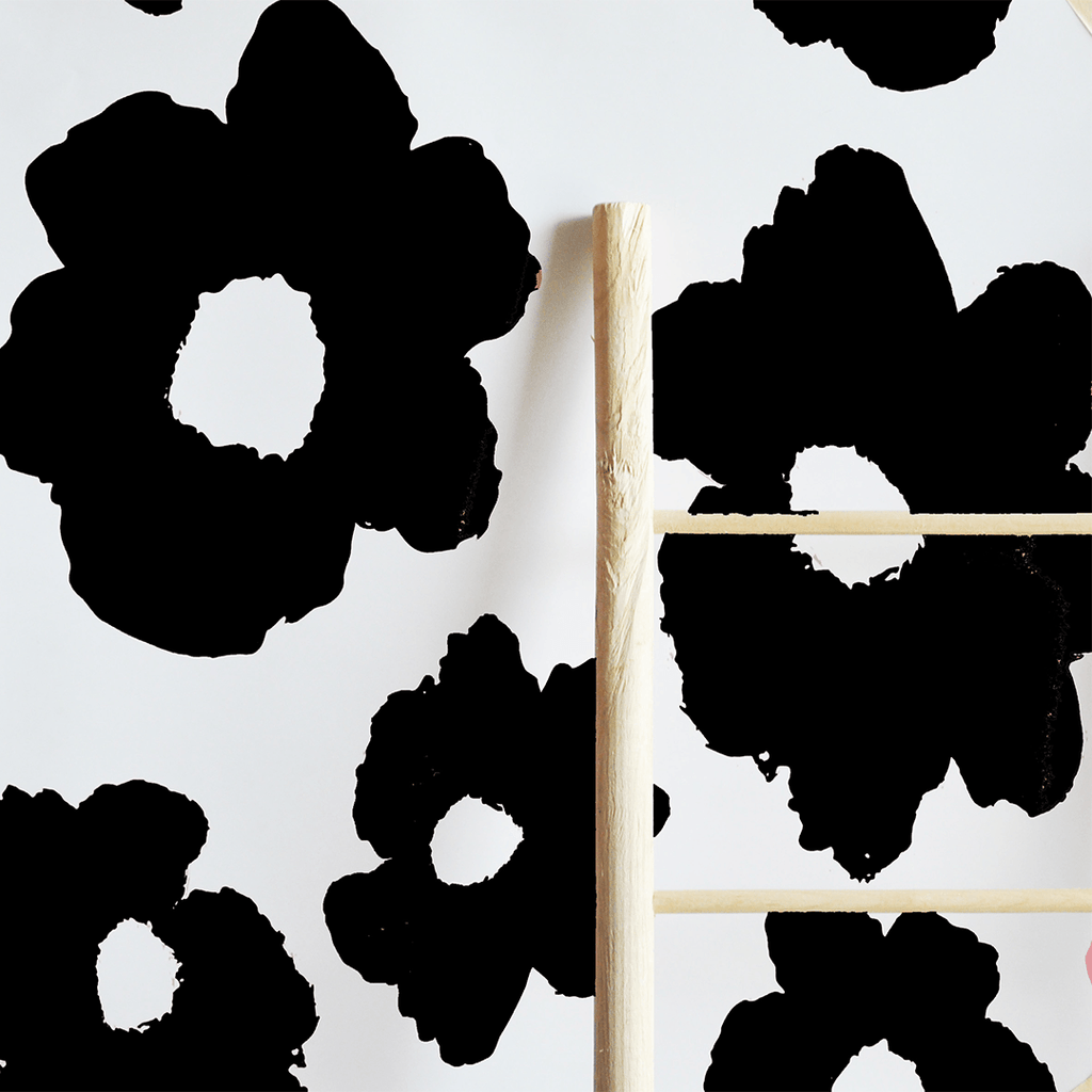 Painted Floral Removable Wallpaper Tiles Black - The Project Nursery Shop - 2