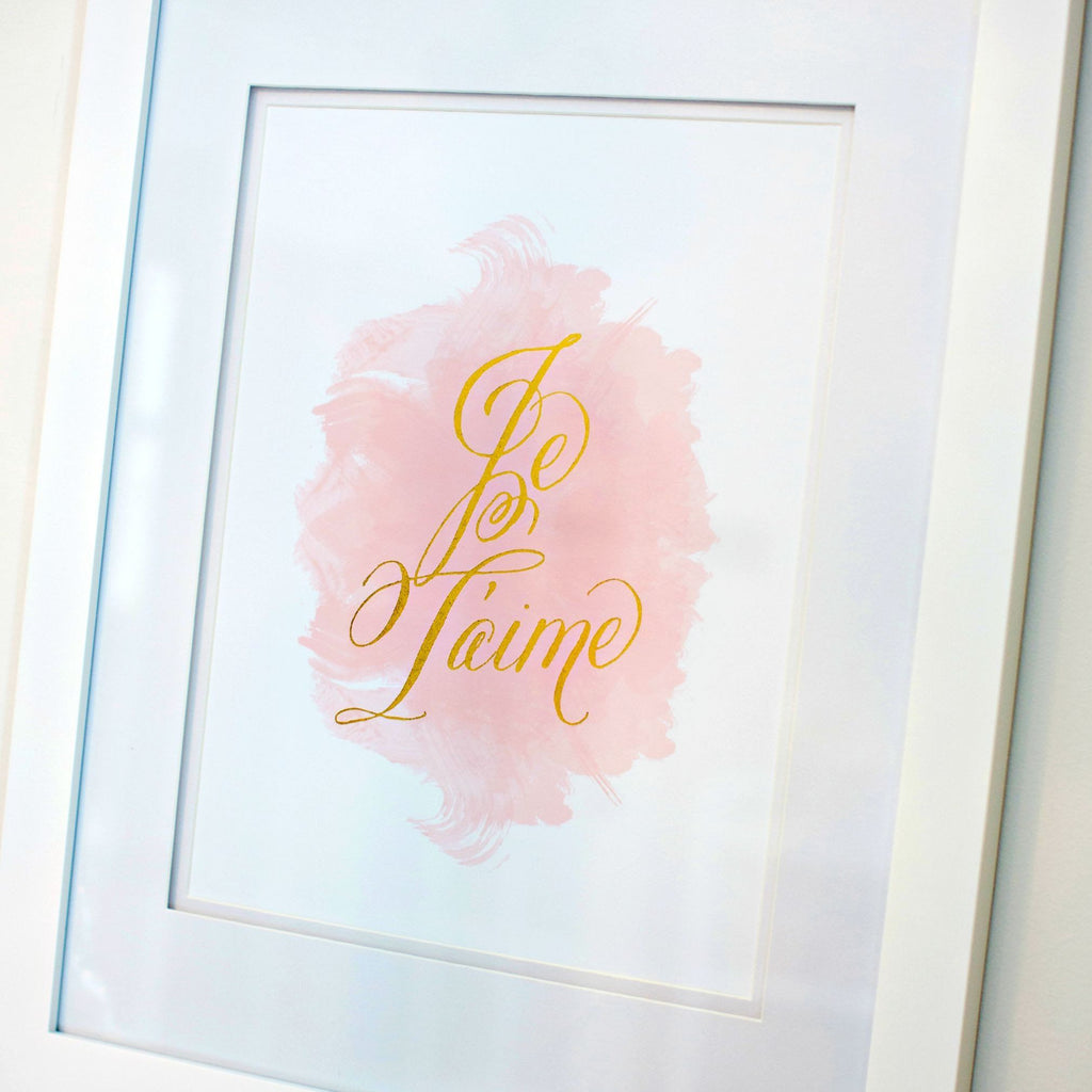 Je T'aime Gold Watercolor Print  - The Project Nursery Shop - 2