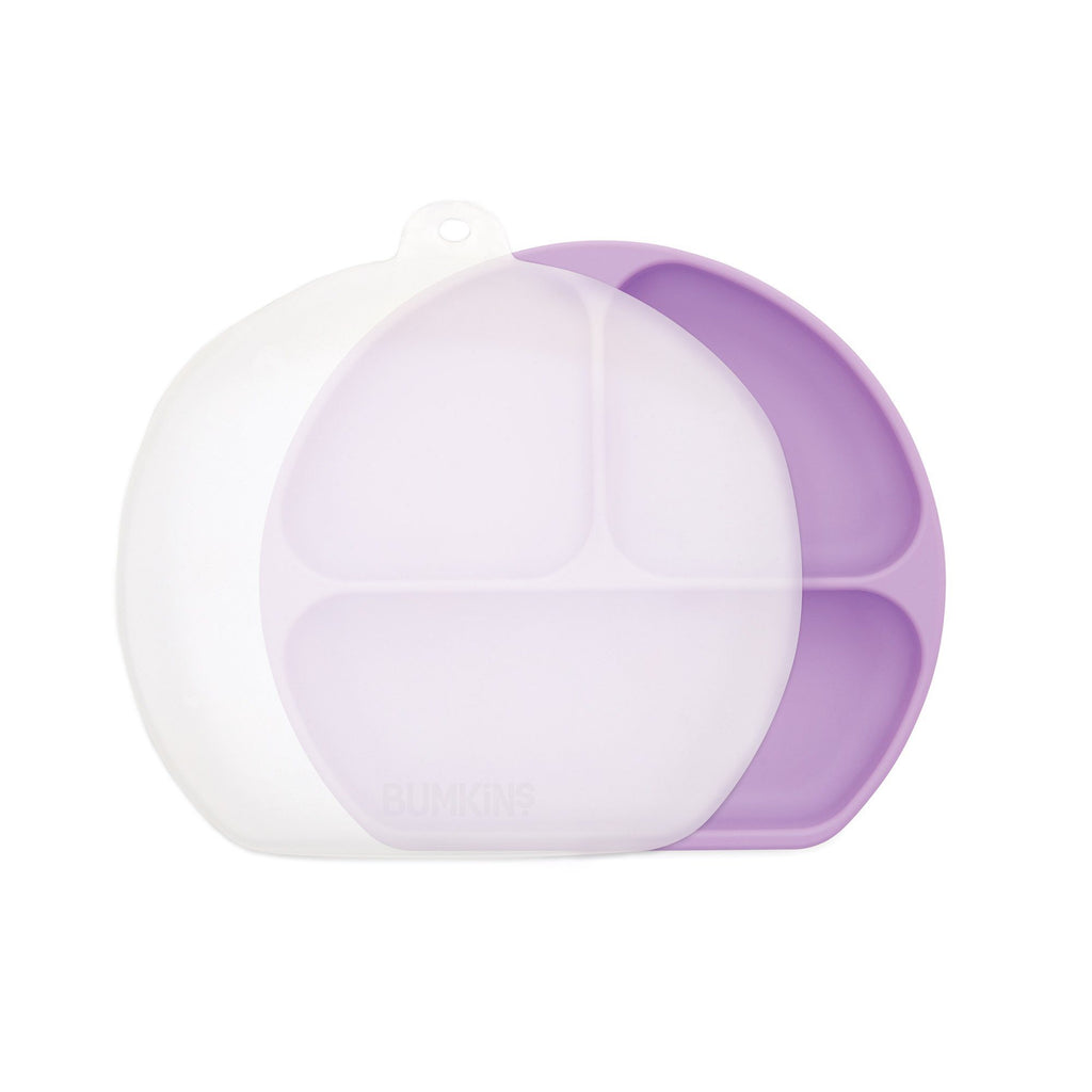 Silicone Grip Dish 3 Section + Lid - Lavendar - Project Nursery