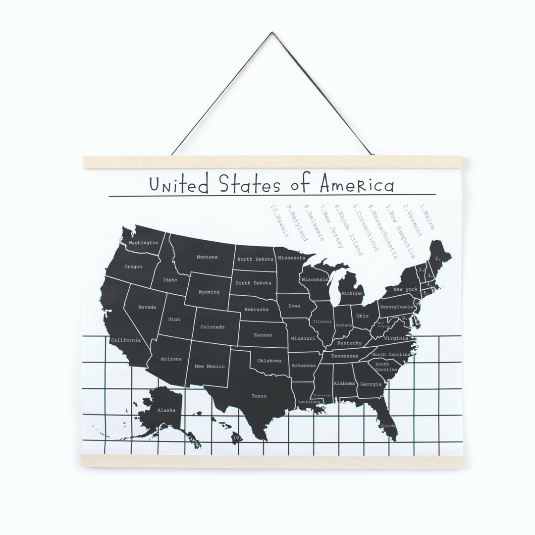 Map of the USA Canvas Wall Hanging