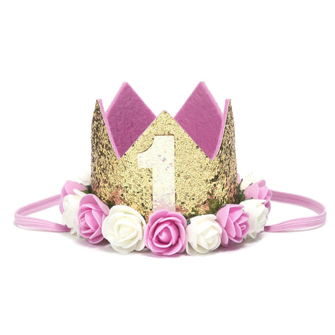 Shabby Chic Lace 1st Birthday Crown