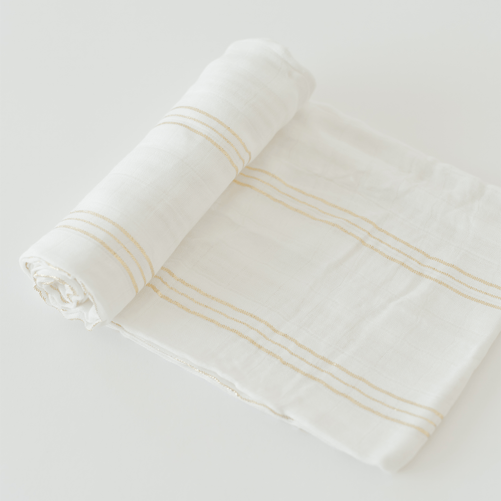 Deluxe Muslin Swaddle in Gold Stripe  - The Project Nursery Shop - 1