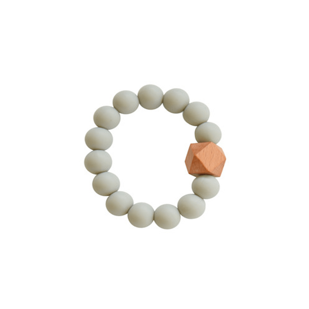 Silicone + Wood Teether Toy - Grey