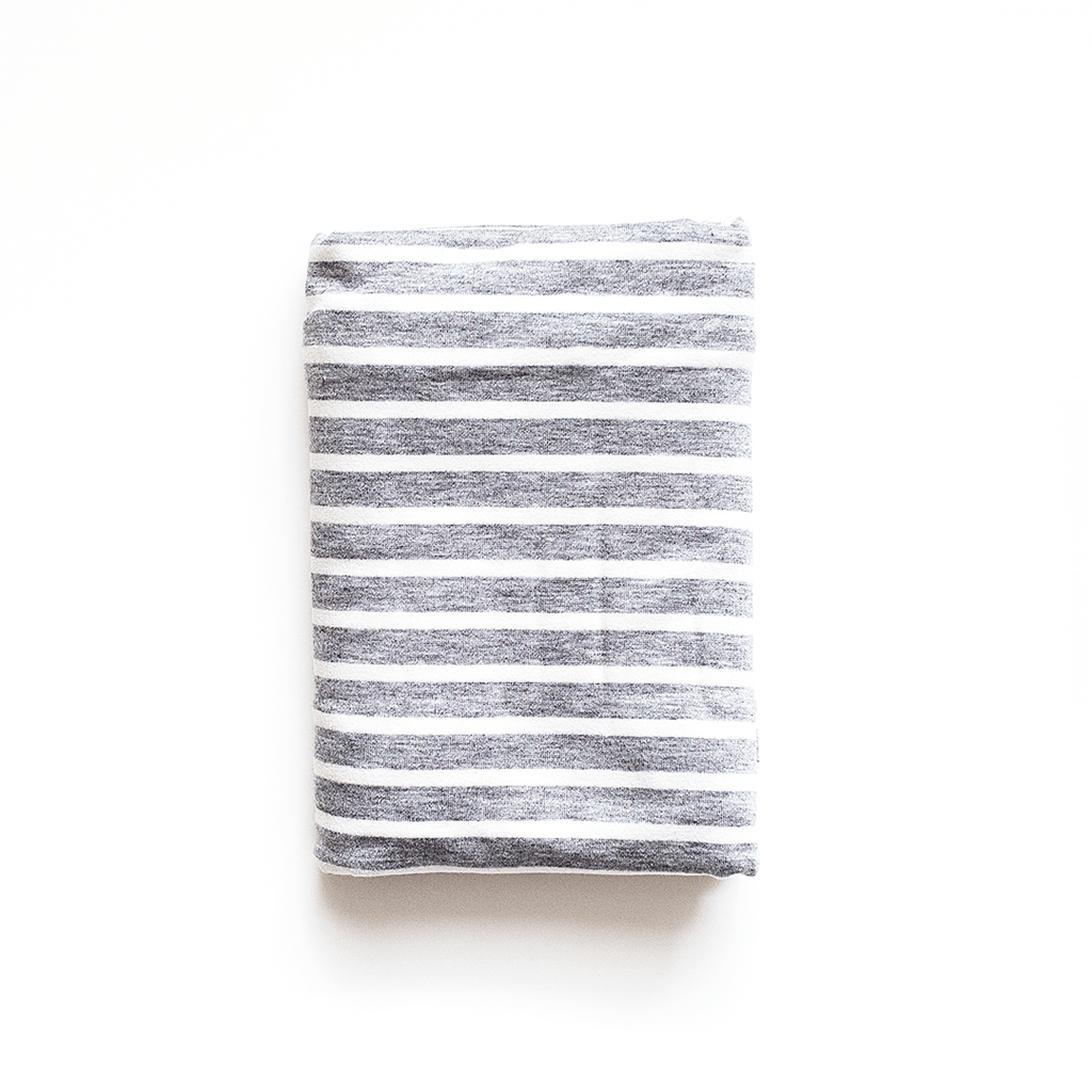 Grey and White Stripe Swaddle Blanket