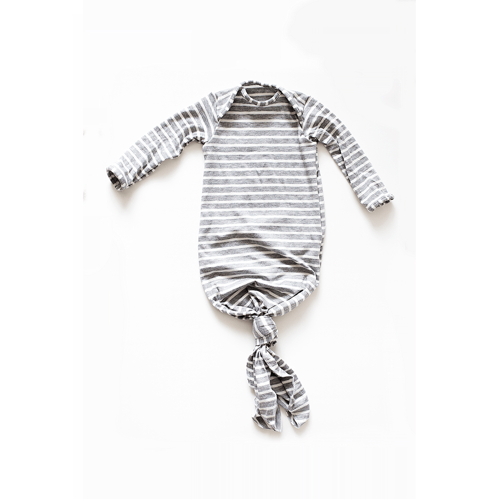 Grey Stripe Knotted Gown