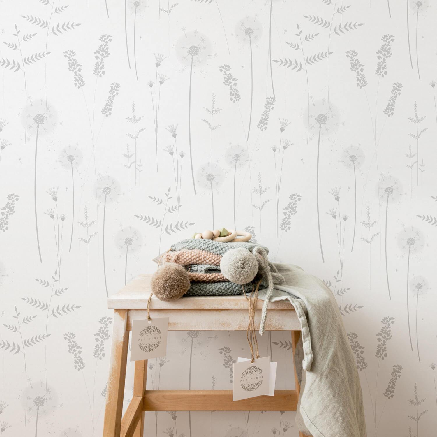 Gray Botanical Wildflower Wallpaper - Project Nursery