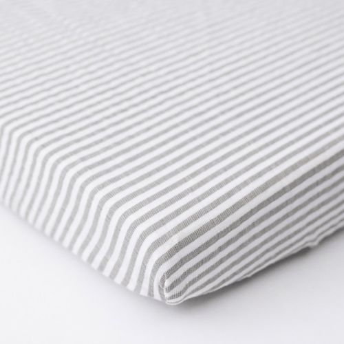 Grey Stripe Cotton Muslin Mini Crib Sheet - Project Nursery