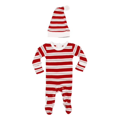 Organic Holiday Overall & Cap Set in Peppermint Stripe - Project Nursery