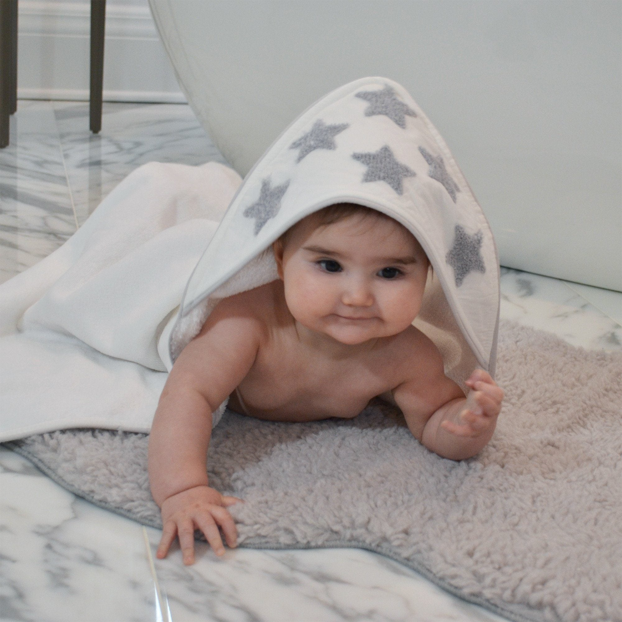 Organic Hooded Towel and Washcloth Set - Boucle Star - Project Nursery