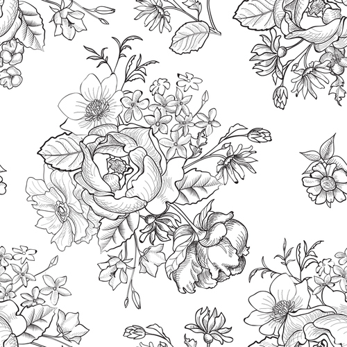 Hand Drawn Rose Mural Wallpaper - Project Nursery