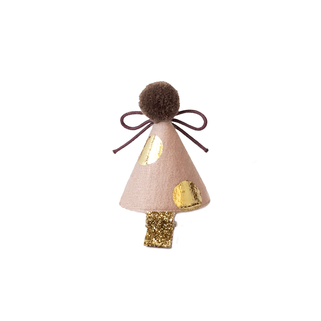 Mini Gold Dot Party Hat Hair Clip - Project Nursery