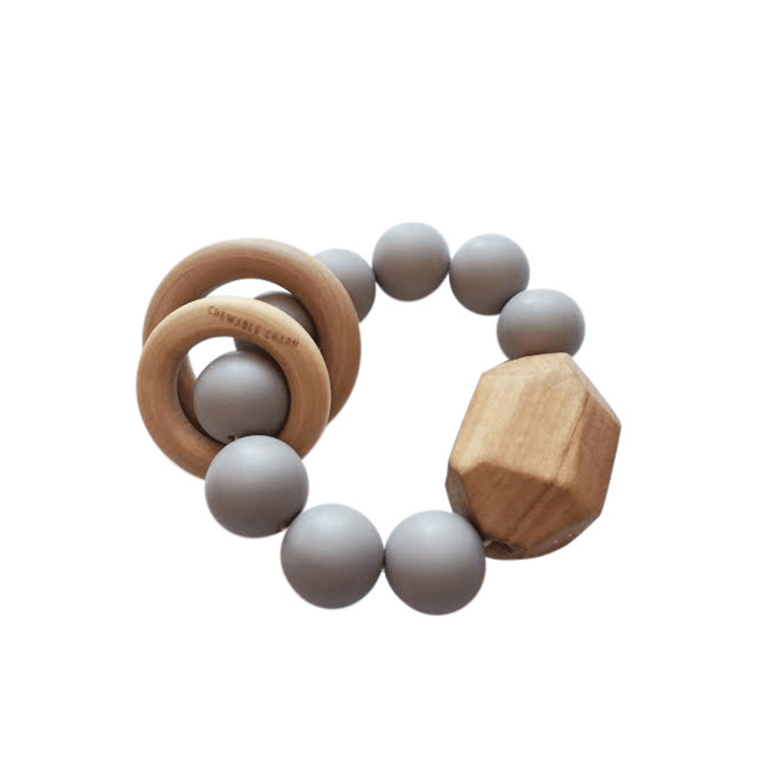 Hayes Silicone And Wood Teether Toy - Grey