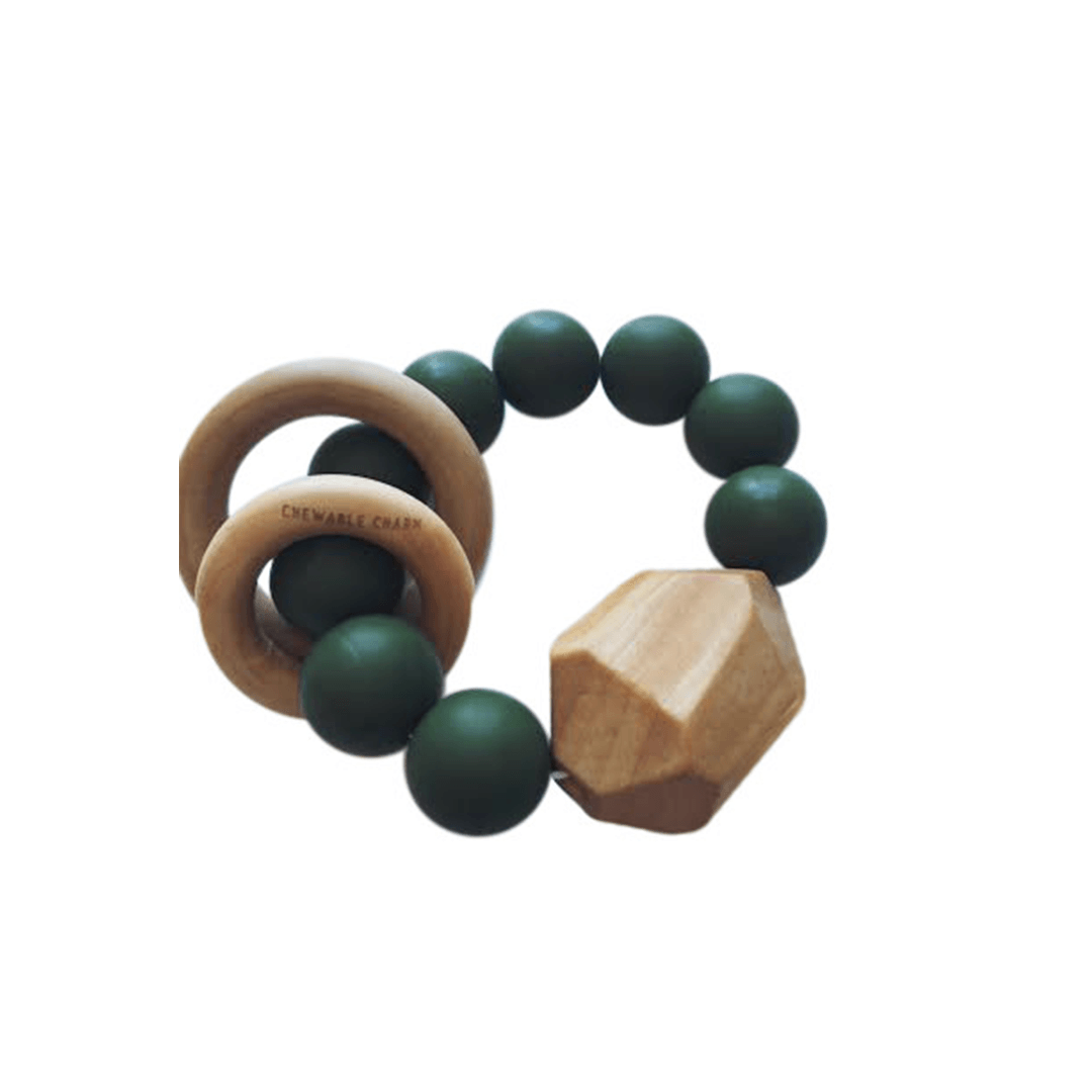Hayes Silicone And Wood Teether Toy - Kale