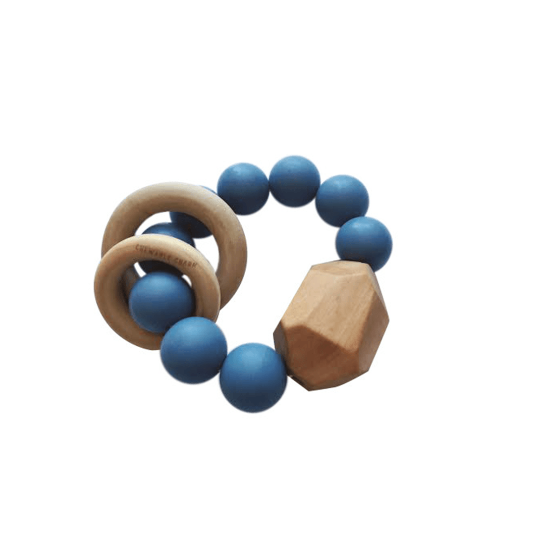 Hayes Silicone And Wood Teether Toy - Niagra Blue