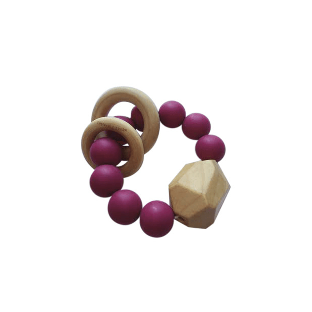 Hayes Silicone And Wood Teether Toy - Sangria