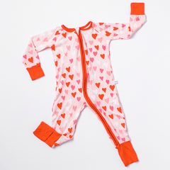 Hearts Bamboo Zip Romper + Sleeper - Project Nursery