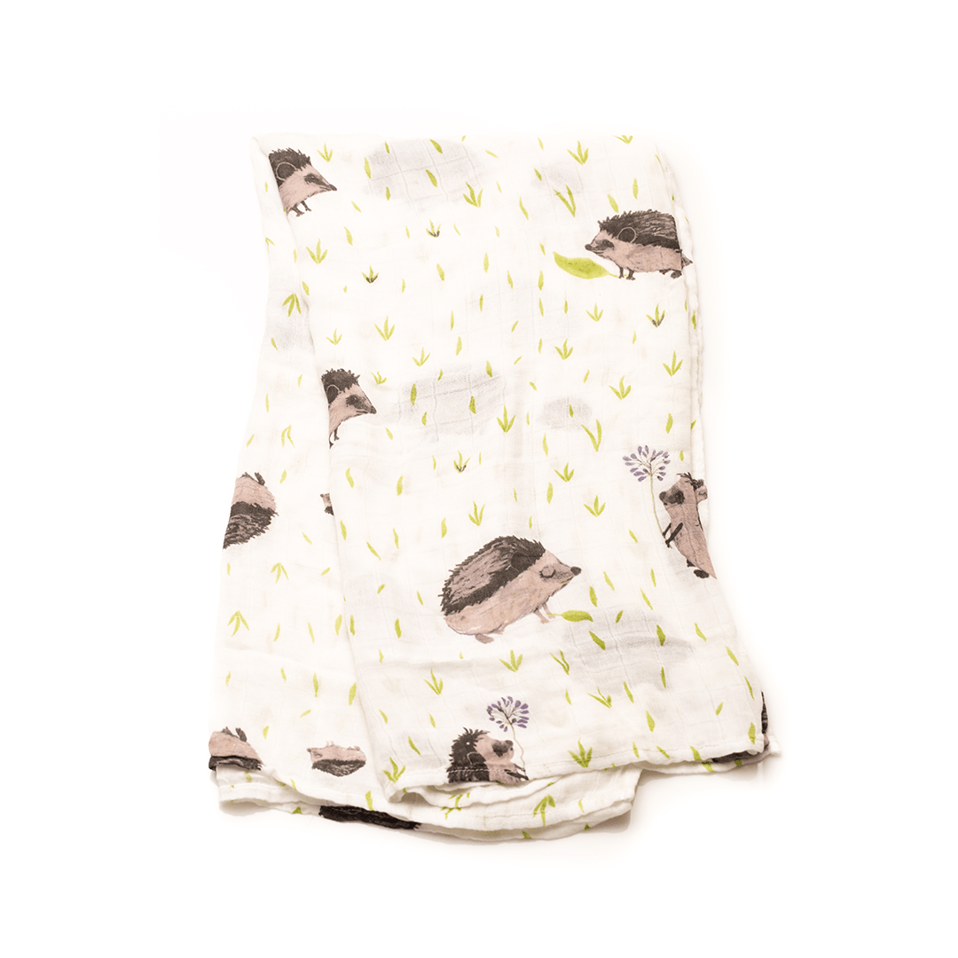 Deluxe Muslin Swaddle in Hedgehog - Project Nursery