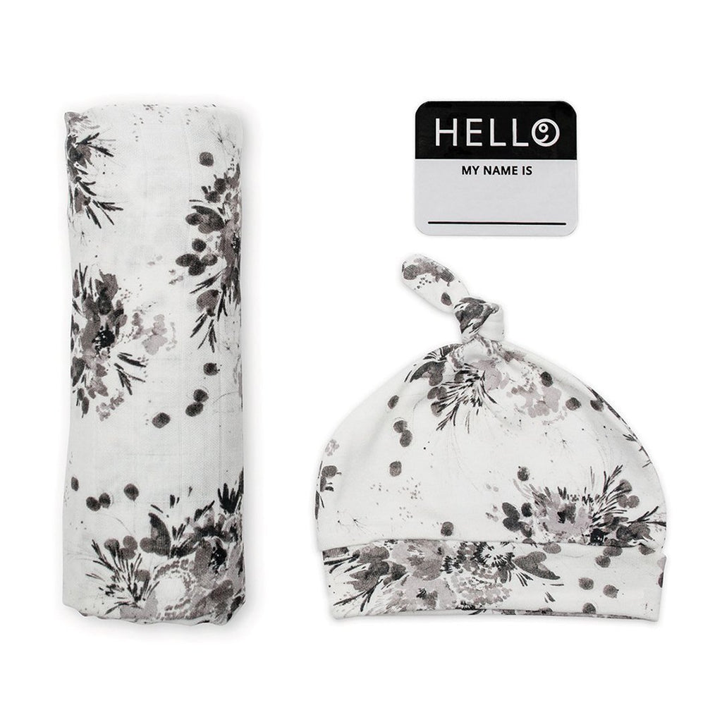 Hello World Hat + Swaddle Set - Black Floral - Project Nursery