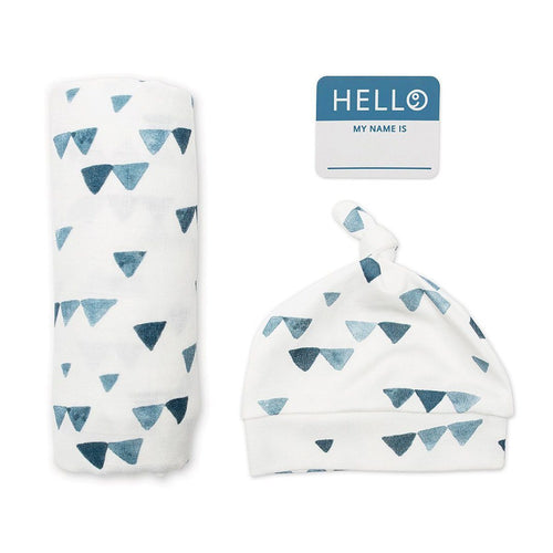 Hello World Hat + Swaddle Set - Triangle Blue - Project Nursery