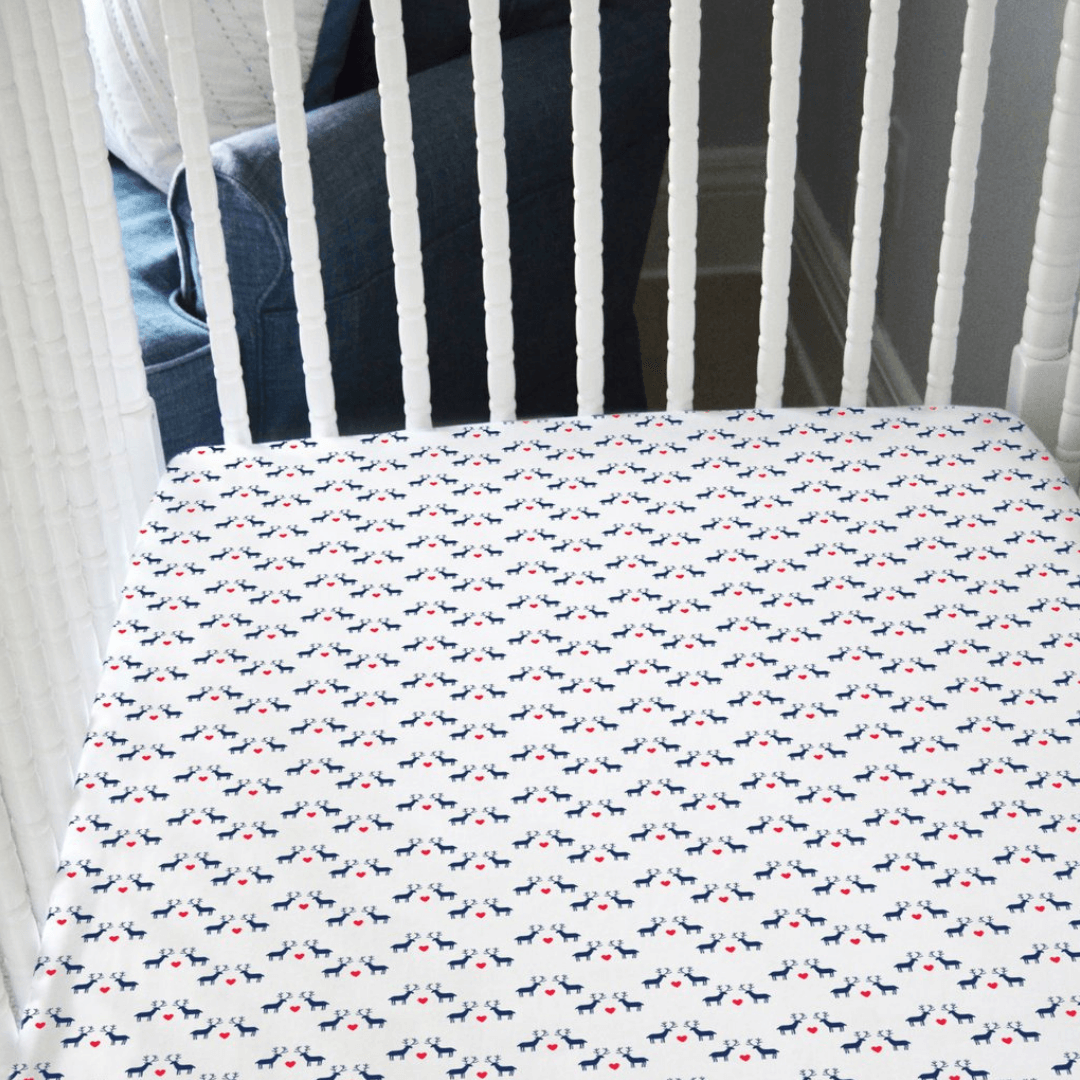 Holiday Reindeer Love Organic Jersey Crib Sheet - Project Nursery