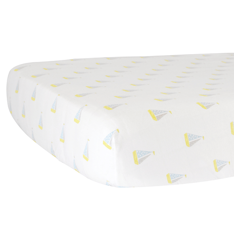 sailboats organic cotton jersey crib sheet