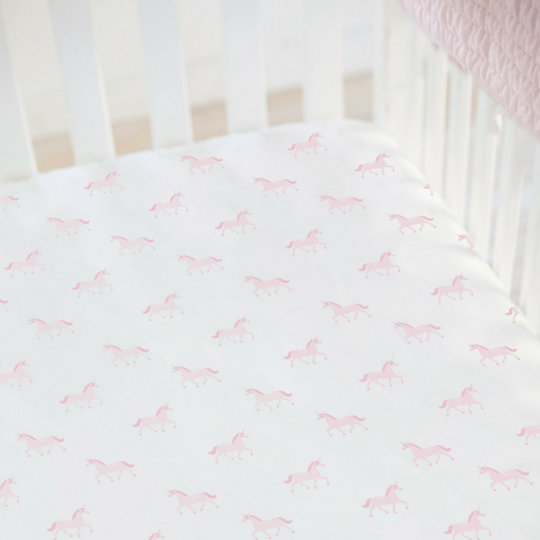 Unicorn Organic Cotton Jersey Mini Crib Sheet - Project Nursery